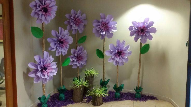 Purple paper flowers in faux dirt