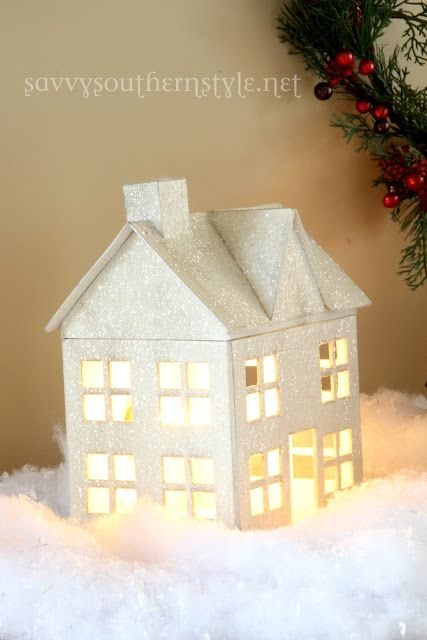 @Hobby Lobby has paper mache houses just like this.  Spray paint & glitter w/ a light? and how beautiful! // from Savvy Southern Style