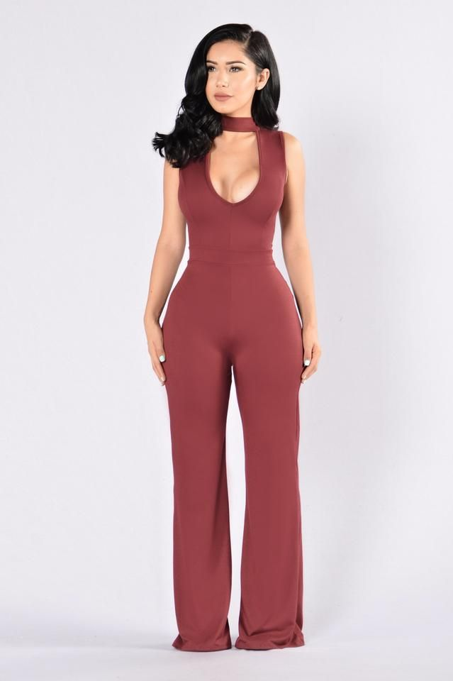 Sophisticated Lady Jumpsuit - Dark Wine                              …