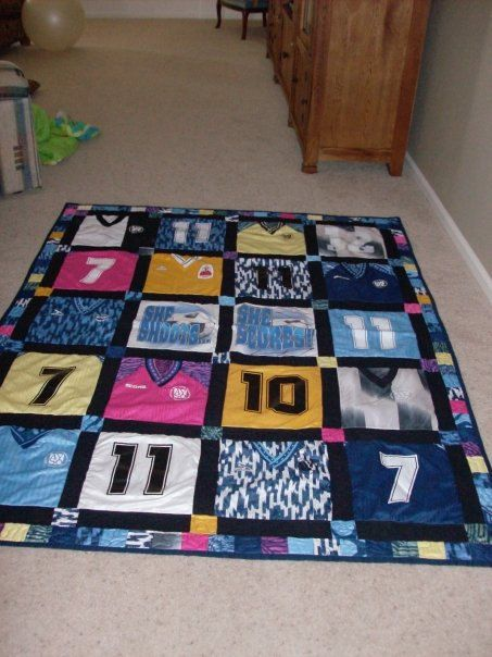 Soccer quilt - I need to do this with all of my old soccer jerseys!! @Brooke Williams Williams Williams