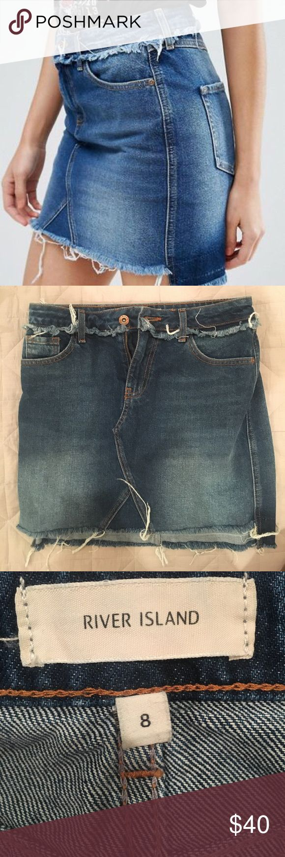 River island denim frayed skirt Size US 4. 8 on tag is UK size. Bought from asos. Never worn. Been hanging in my closet. Color is accurate the first picture . The lighting in my room made it look darker. River Island Skirts Mini