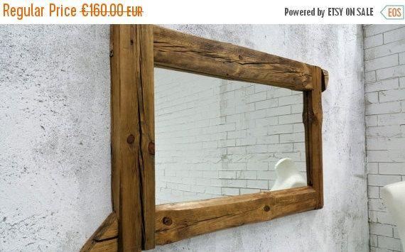 bathroom mirror  reclaimed wood mirror rustic mirror by MakeInWood