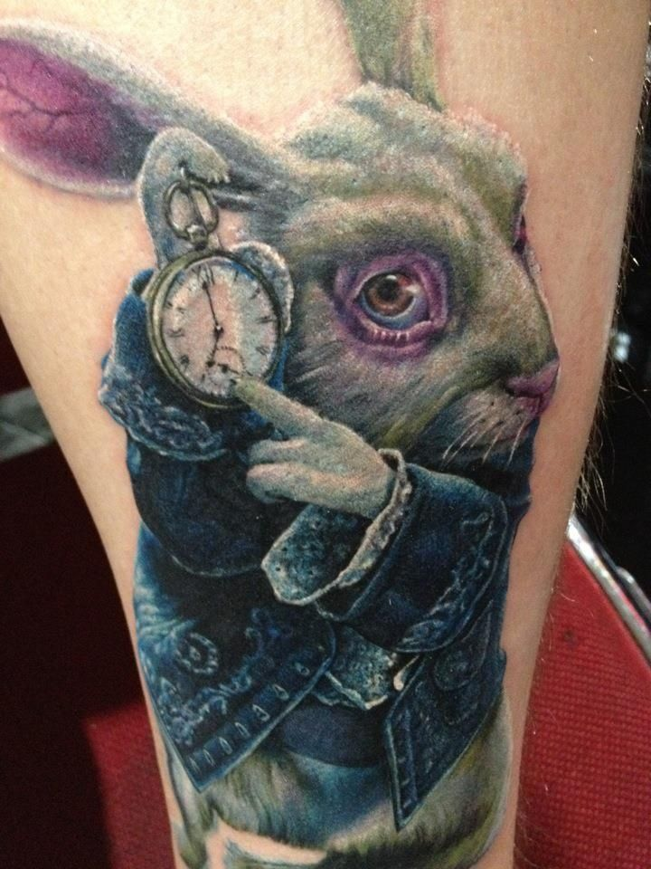 Andy Engel - Alice in Wonderland Rabbit Tattoo