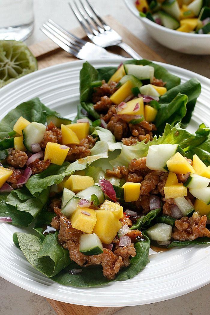 Hoisin Lime Pork Lettuce Wraps with a Cucumber Mango Salsa - Fabtastic Life!