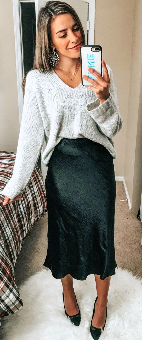 spring #outfits gray knitted sweater and black silk midi skirt