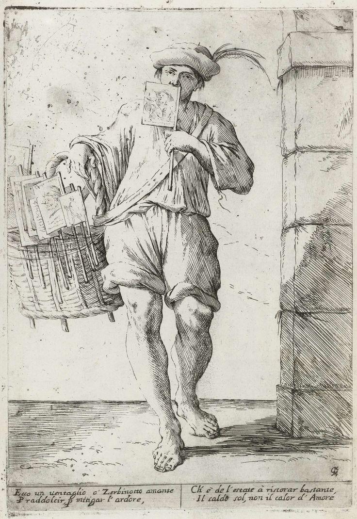 Verkoper van vlaggetjes of waaiers, Giuseppe Maria Mitelli, 1660