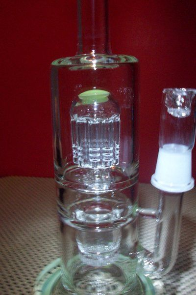 "Large 13"" ""Dab Deluxe"" Stemless GoG Glass on Glass water pipe w/10 arm tree perc & Honeycomb Chamber"