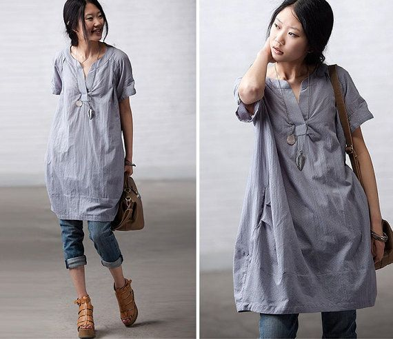 Loose Fitting Soft Cotton Long Shirt Blouse for Women  -  Gray Blue-Short Sleeved Women Spring Dress on Etsy,