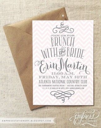 Elegant Bridal Brunch / Bridal Show Wedding Invitation Ideas. Peach and white Chevron with cute script