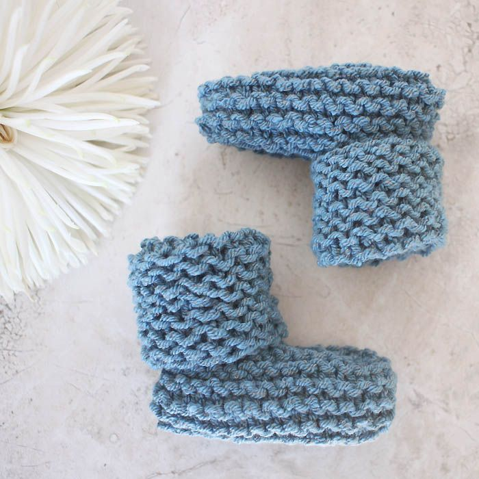Free knitting pattern for EASY Cuffed Baby Booties by blogger Gina Michele.