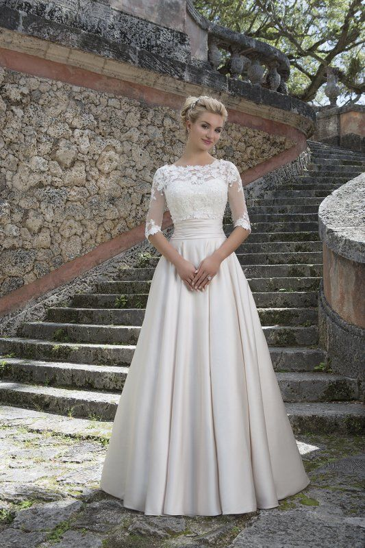 Sincerity Bridal Lace and Satin Ballgown Wedding Dress with Jacket - Justin Alexander Collection