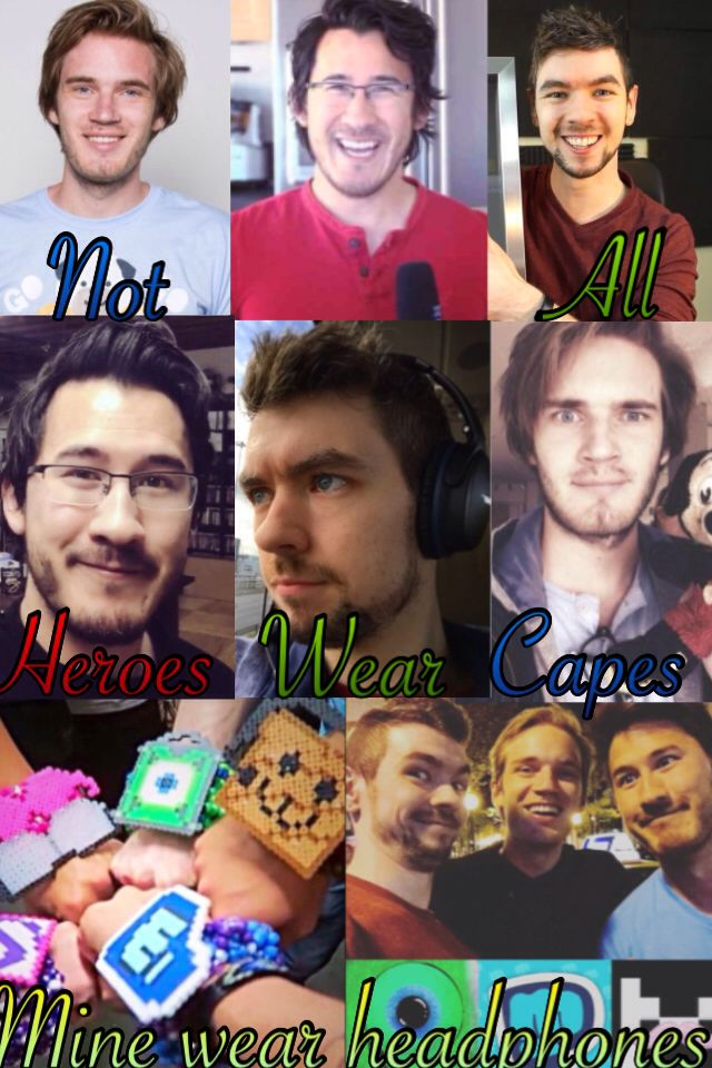 Pewdiepie, Markiplier and Jacksepticeye