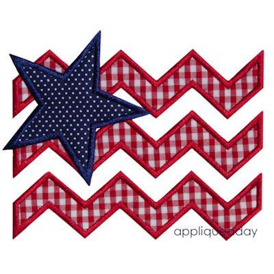 Chevron Flag & Star Satin