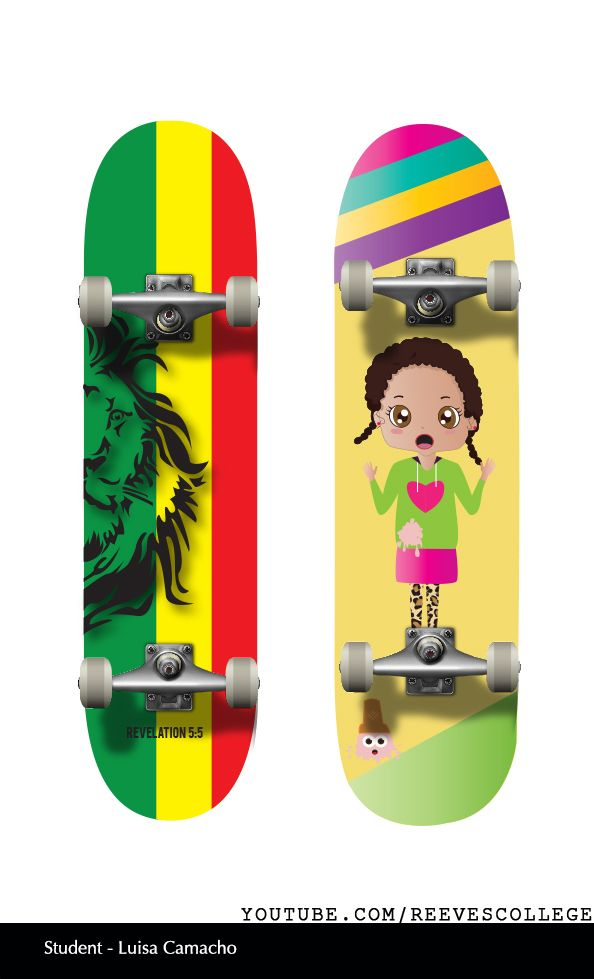 Skateboard Deck Design Adobe Illustrator CS6 by Reeves College Student Luisa C  #skateboard #clipart #design #art #skateboardart #skateboarddesign #skatedeck #deckart #deckdesign #graphicdesign Subscribe to Reeves College:  http://www.youtube.com/subscription_center?add_user=ReevesCollege