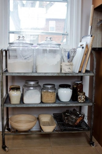old metal carts are awesome - love this in the pantry
