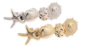 Coreano moda ouro prata metálica conchas estrela do mar presilhas grampos de cabelo de jóias mulheres noiva Hairwear acessório apoio atacado