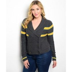 Grey Yellow Stripe Button Cardigan XL 2XL 3XL