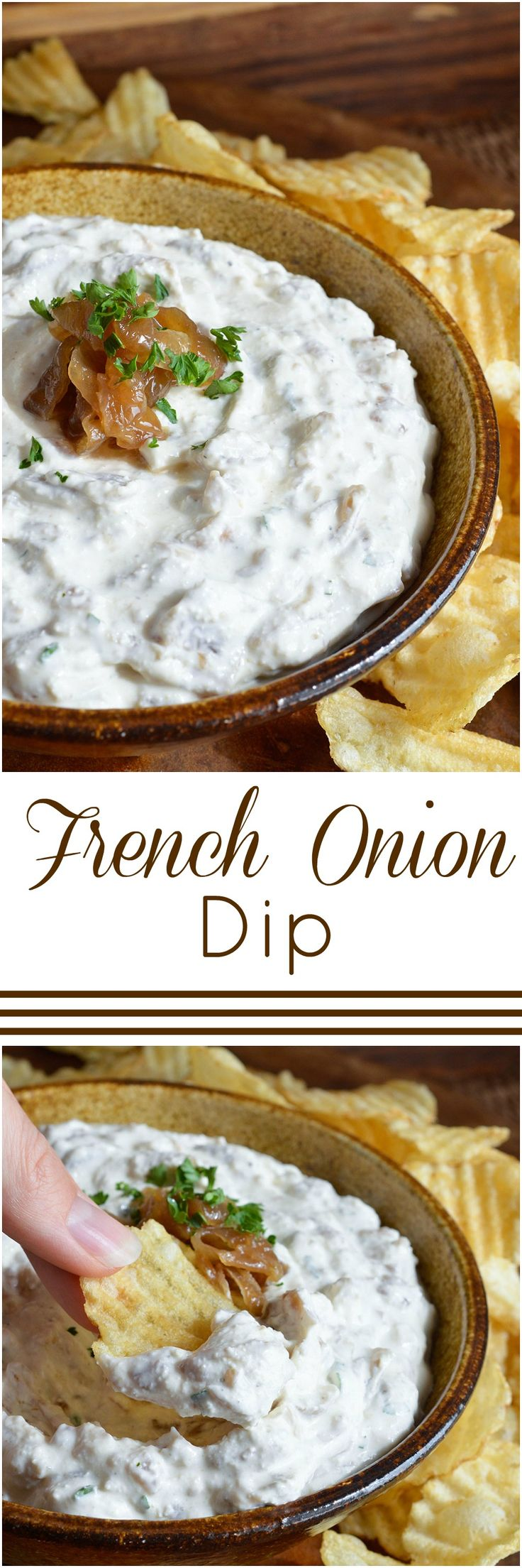 This French Onion Dip Recipe is the perfect party appetizer! Caramelized onions in a cold, creamy dip.