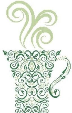 Tea Counted Cross Stitch Pattern  #crossstitch #tea #cup #mug #drink #kitchen #pattern #cross_stitch #needlework #diy #crafts #needlecraft