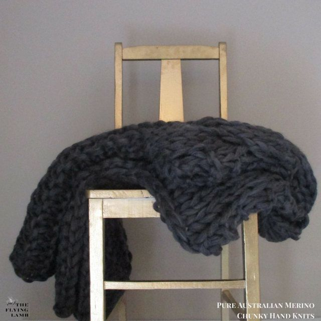 ON SALE  Chunky Knit Throw  Chunky knit wool blanket. Cabled grey hand knitted wool throw. 100% Australian Merino wool.