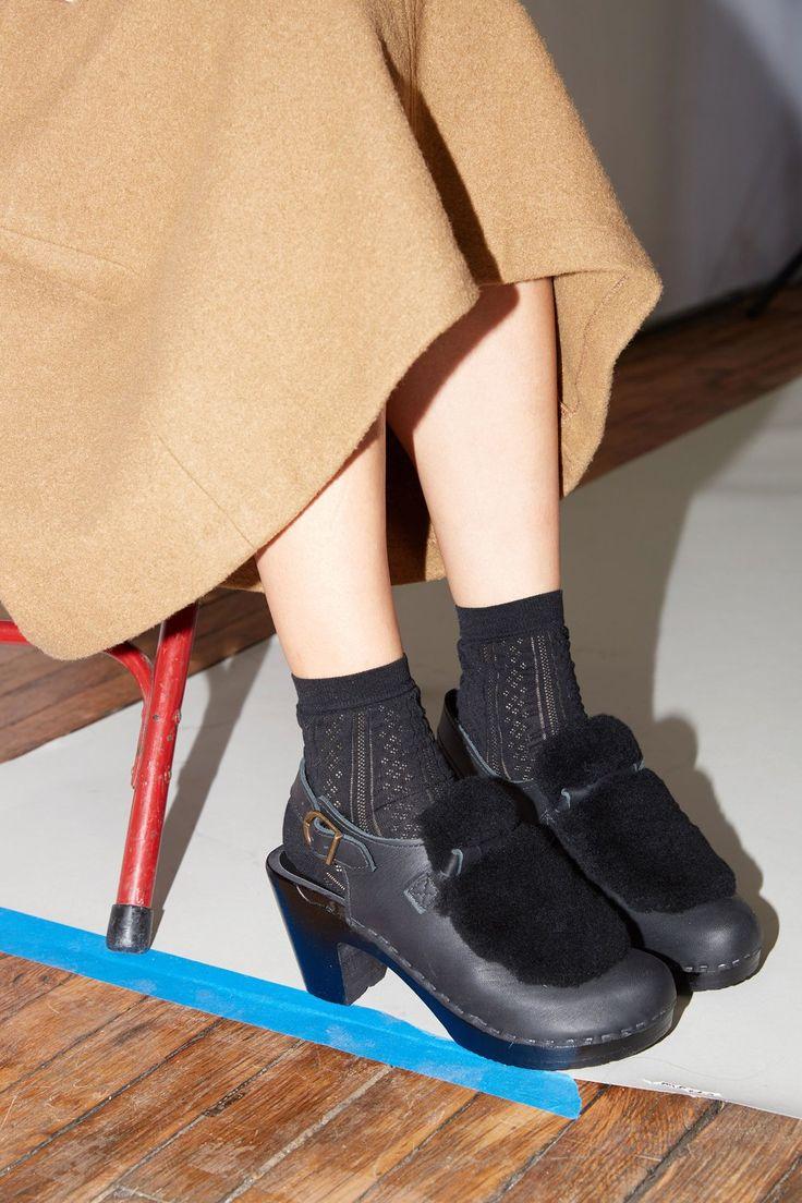 No.6 Fur Slingback Clog on High Heel in Black/Black on Black Base