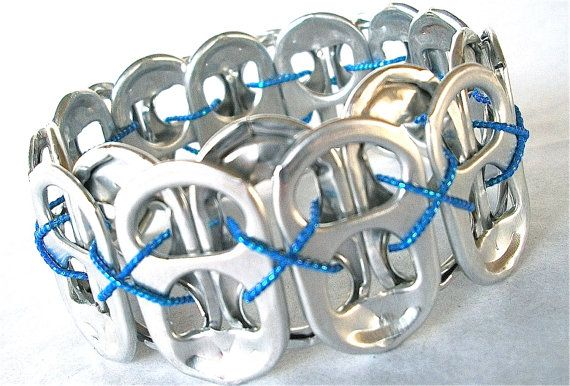 Soda Pop Tab Bracelet - Once in a Blue Moon - for teens and adults - eco-friendly/upcycled jewelry, $7.00