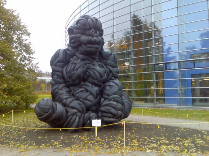 """A gorilla made out of old car tires by Estonian artist Villu Jaanisoon. Name of the art work: """"Everything is possible"""" and it is located in Viikki campus of University of Helsinki."""