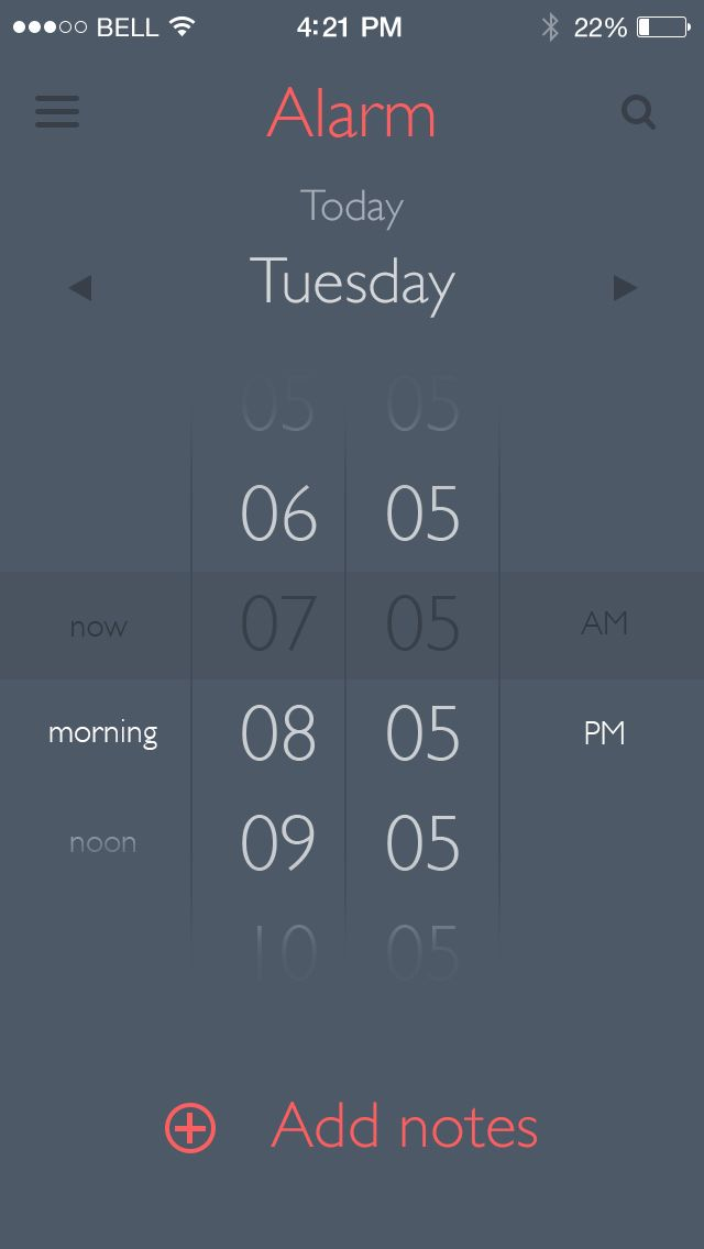 Alarm App, could form basis of new calendar design