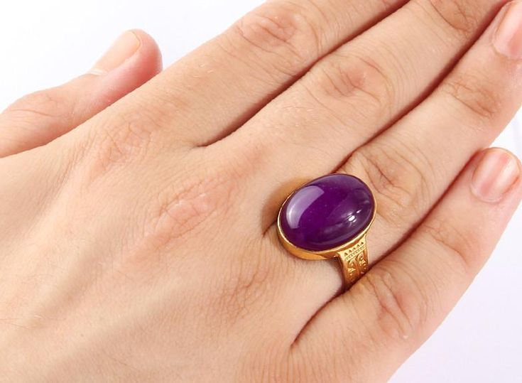 Men's Agate Ring in 14k Yellow Gold Artdeco Ring, Natural Purple Stone Ring for Men #amethyst #emerald #sapphire #turquoise #onyx #giftforman #agate