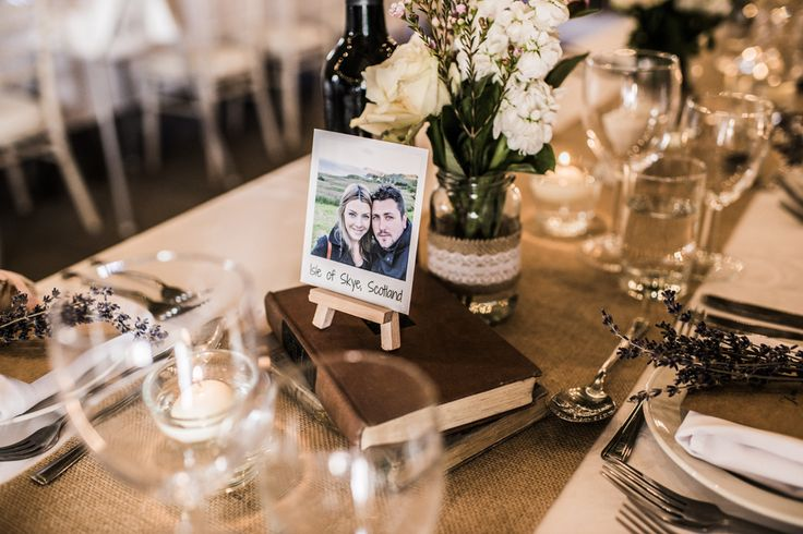 Mini easel, polaroid and Vintage book table names at Wedderburn Barns