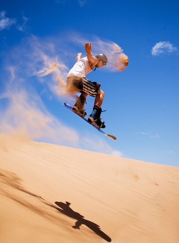 This looks awesome!!   Sandboarding.The most frequently visited sandboarding destinations in the world tend to be located in or around deserts and beaches, but there are plenty of other locations.  Check out http://dsc.discovery.com/adventure/the-worlds-best-sandboarding-spots.html