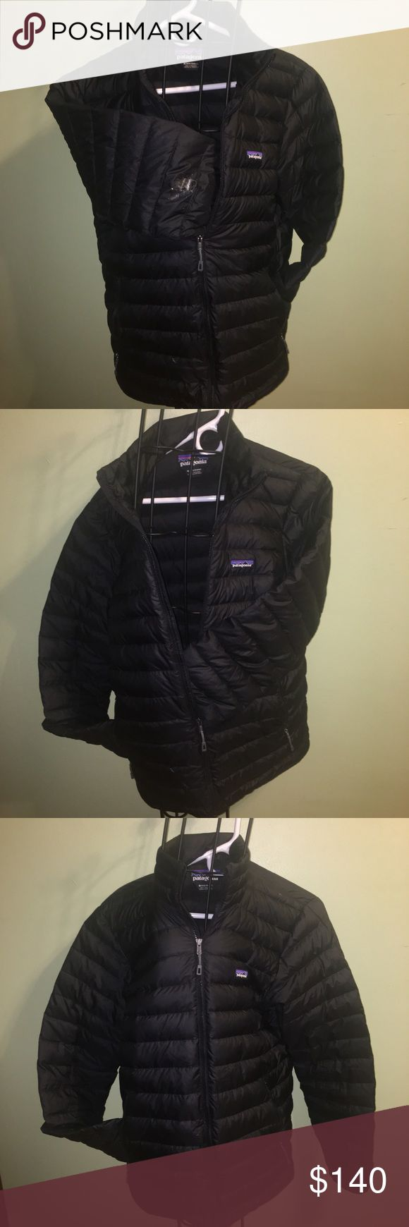 Patagonia Down Sweater Jacket with Flaws Sz M PLEASE READ before considering purchase. This jacket has only been worn a few times before the right arm was ripped (see photos of 1. rip and 2. pen size hole on the right arm. I have cover the hole with tap to prevent the feathers from coming out. Can be patched or worn as-is. Jacket is being sold with consideration of the rip and possible repairs. Down patch is around 4-9 bucks. Packable Down Sweater is lightweight and windproof with 100%…