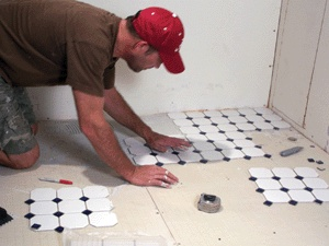 diy how to install mosaic floor tile .... To fully waterproof a mosaic tile floor, use a mildew-resistant caulk to seal around pipes and bathroom fixtures. Allow the caulk to cure 24 hours before exposing it to water.  Many scrim-backed mosaic tiles come pre-glazed, but if that isn't the case, then the floor will require a sealer. If using unglazed mosaic, then seal the entire floor. First sweep away any dirt, dust or loose debris. Use a paint roller to apply a coat of tile sealant according…