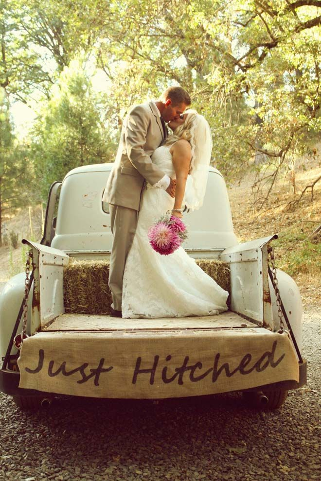Just Hitched rustic wedding / burlap Love love love this. Must find an old truck to use!!