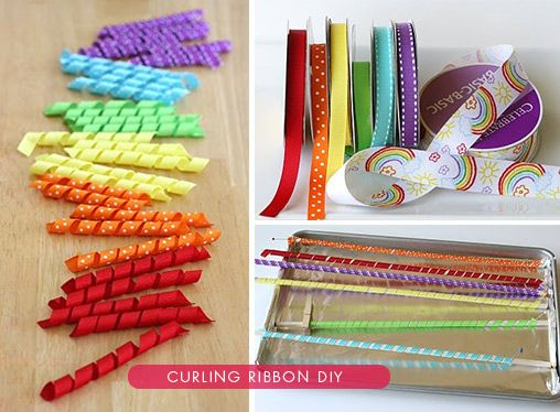 DIY - Curling Ribbon. Using wooden Dowels + Baking 25 minutes. Use different sized dowels to produce different curl widths.