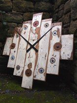 Designate Beach Clock - Drift wood, beach, timber, vintage, distressed paint, rusted bolt heads, blue, red, white