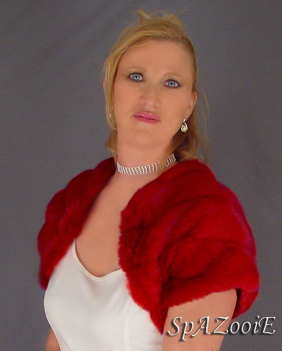 Red MEDIUM Short Sleeve Faux Fur Bolero Jacket by SpAZooiEBridal, $42.50