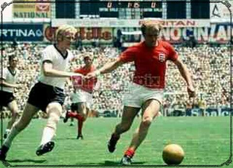 West Germany 3 England 2 in 1970 in Leon. Francis Lee on the ball in the World Cup Quarter Final.