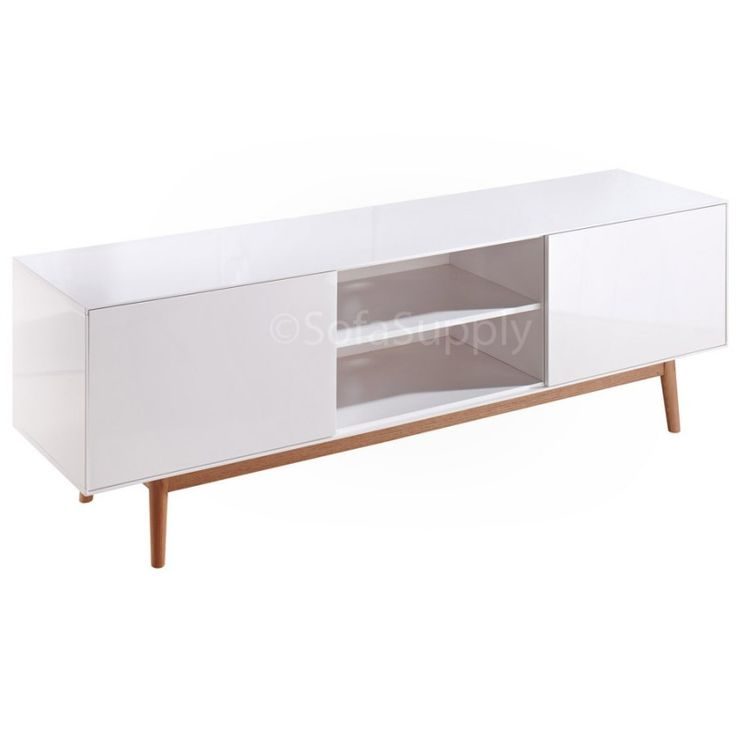 Gustav tv-meubel Retro mat wit eiken onderstel