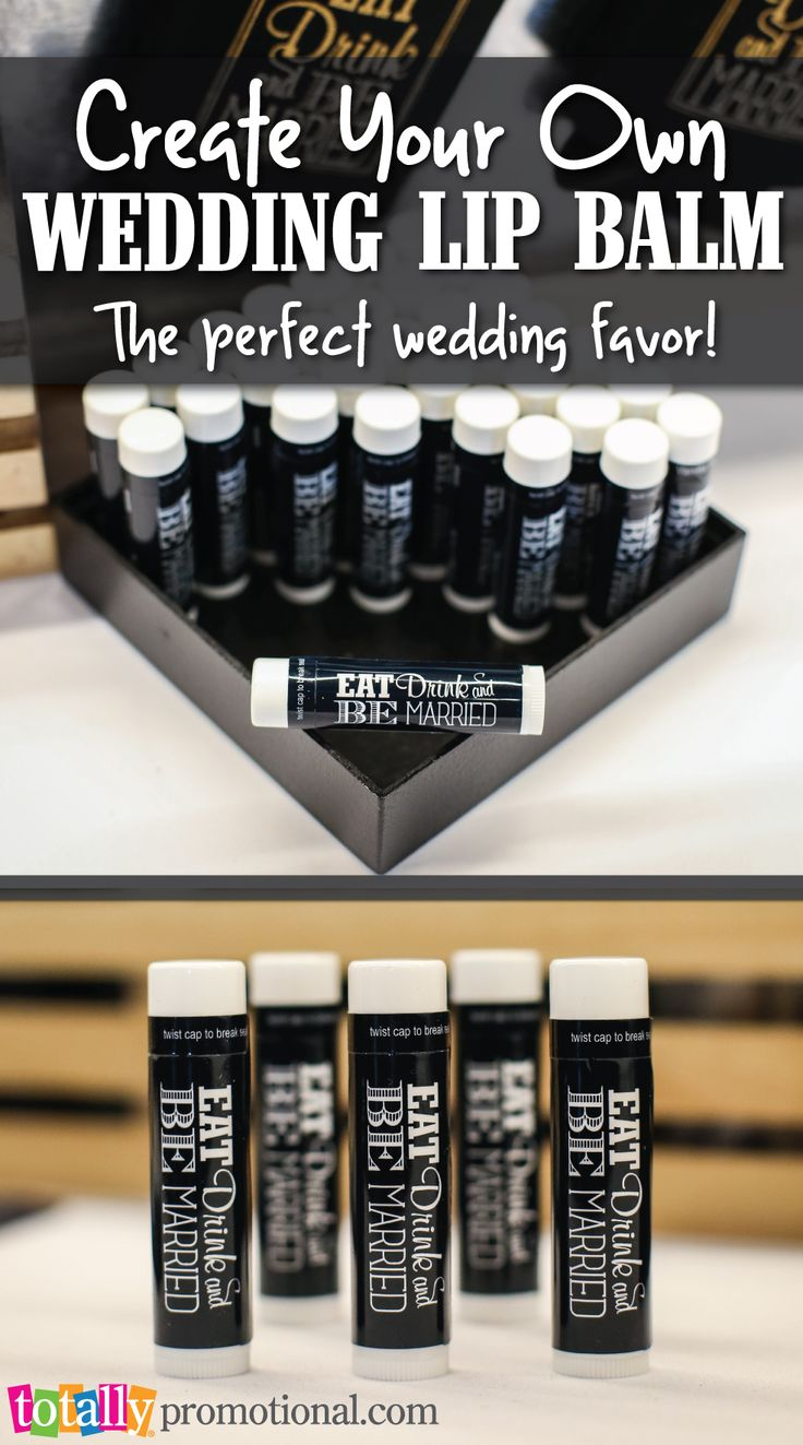 Create your own #wedding lip balm here at Totally Promotional!  This is the perfect wedding favor that any guest will adore!  Our lip balm is made in the USA with the highest purity beeswax and it's available in 27 different flavors!  Your options are endless as we can coordinate and compliment any wedding!