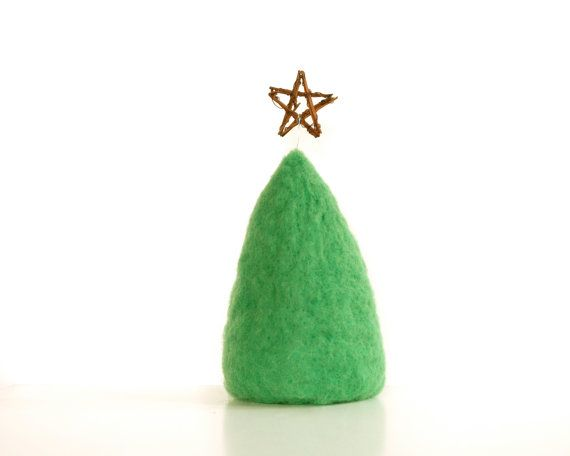 Needle Felted Christmas Tree, Enchanting Holiday Decorating Home Decor, Christmas Star, Green. $30.00, via Etsy.