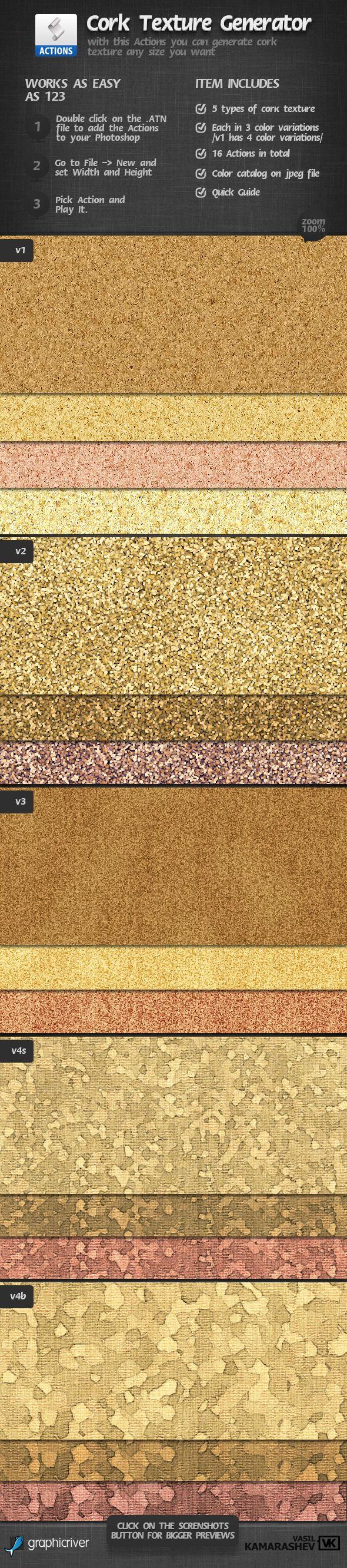 Cork Texture Generator — Photoshop ATN #cork #texture • Available here → https://graphicriver.net/item/cork-texture-generator/2304965?ref=pxcr