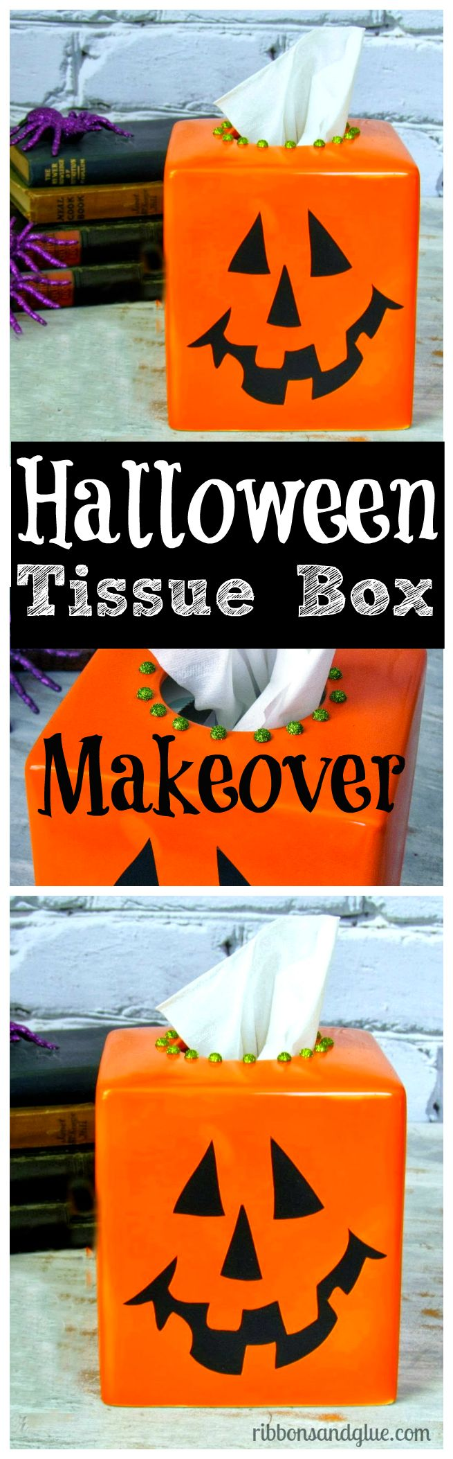 Give a plain ceramic tissue box cover a Halloween makeover with just spray paint and black vinyl . Easy Halloween decoration idea.