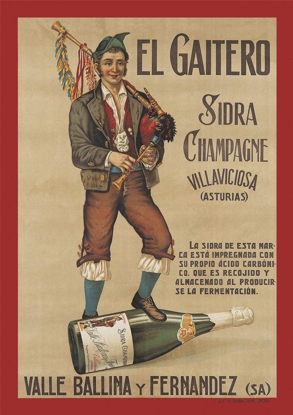 Cartel de Sidra Champagne El Gaitero, 1920
