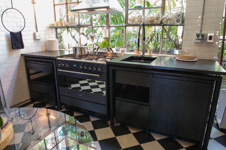 Black kitchen | Steel | Black Granite | Osb board | Industrial | Smeg | Small | Modern | Simplicity | Etienne Hanekom Interiors