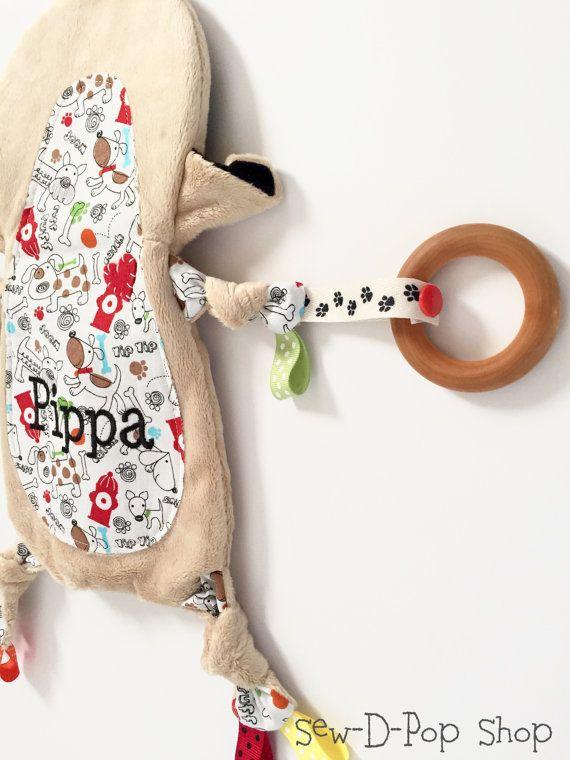 Pug bebé manta Lovey dentición anillo orgánico juguete amigo