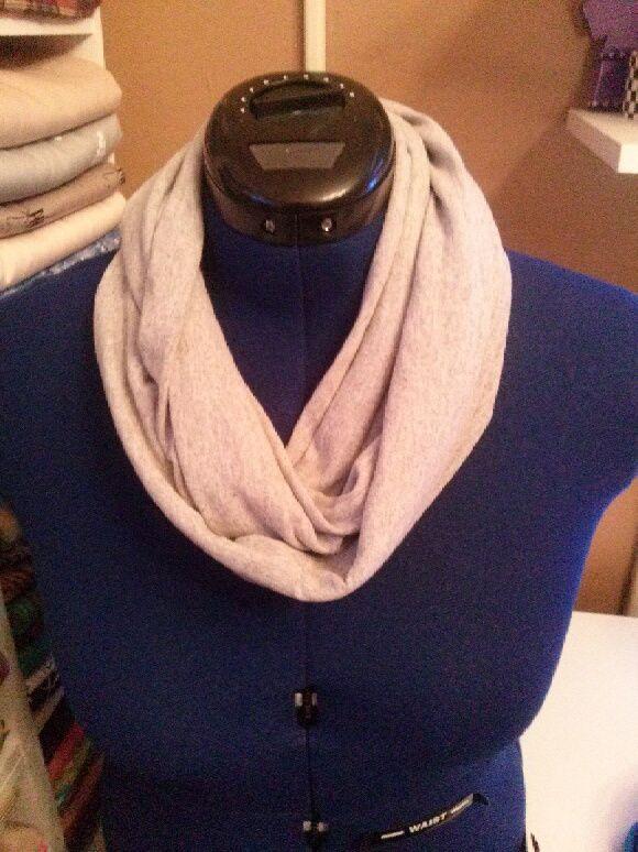 Grey infinity t-shirt scarf.