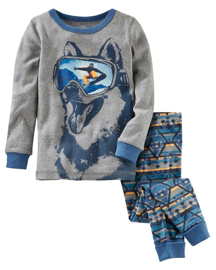 2-Piece Snow Dog Snug Fit Cotton PJs