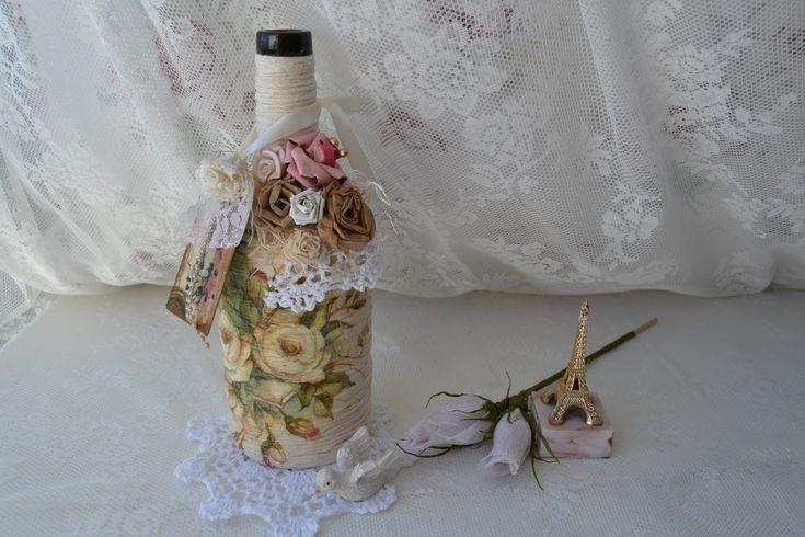 Como reciclar uma garrafa vintage com barbante e decoupage ♥