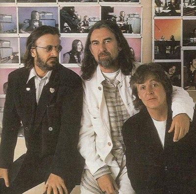 One of the many beautiful pictures taken of Ringo, George and Paul during The Beatles Anthology sessions. - Facebook